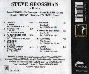Steve Grossman CD Do It (back cover)